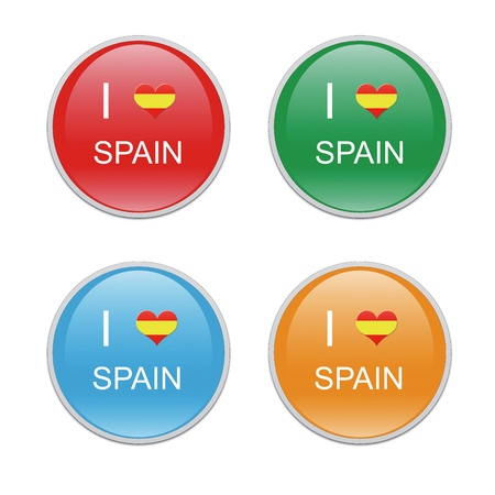 Icons to symbolize I Love Spain in red, green, blue and orange colors photo