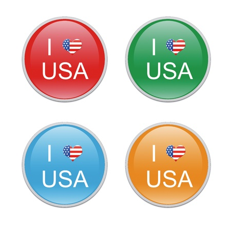 Icons to symbolize I Love USA in red, green, blue and orange colors photo