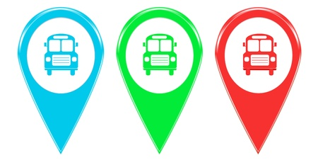 Set of icons or colored markers with bus symbol photo