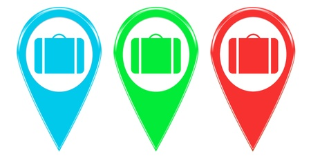 Set of icons or colored markers with suitcase symbol photo