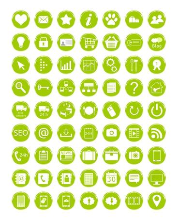 緑の色の web アイコンのセット 写真素材