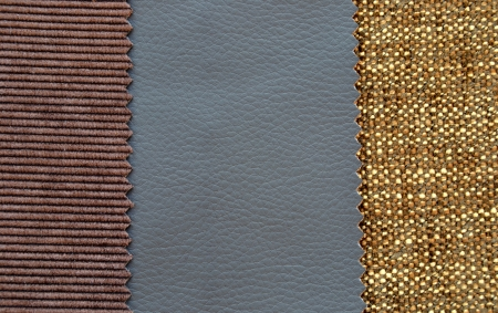 Corduroy and leather texture in gray and brown colors photo