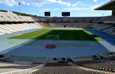 hosted: BARCELONA, SPAIN - SEPTEMBER 29  Olympic Stadium Lluis Companys in Barcelona, Spain on September 29, 2013  This stadium hosted the 1992 Summer Olympic Games  Editorial