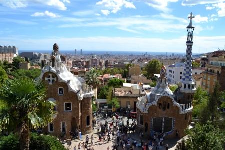 BARCELONA, SPAIN - SEPTEMBER 29  Park Guell in Barcelona, Spain on September 29, 2013