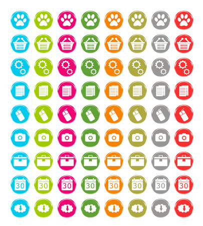 Set of web icons in blue, green, pink, orange, red, gray and gold colors photo
