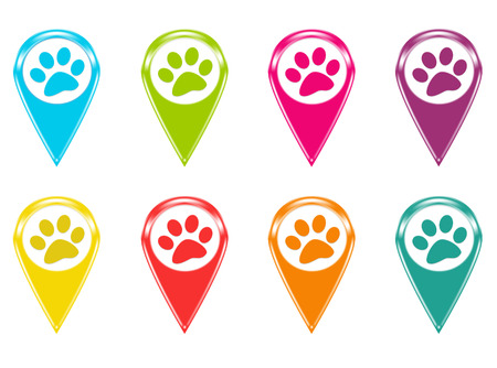 Set of icons or colored markers with pet footprints symbol Imagens