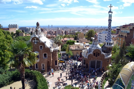 BARCELONA, SPAIN - SEPTEMBER 29  Park Guell in Barcelona, Spain on September 29, 2013  Park Guell was designed by Antoni Gaudi and is part of the UNESCO world heritage sites