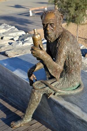 ruiz: BADALONA, SPAIN - NOVEMBER 6  Monkey Sculpture in Badalona, Spain on November 6, 2013  Sculpture designed by Susana Ruiz and represents the monkey bottle label brand of Anis del Mono factory Editorial