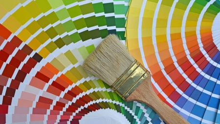catalogs: Close up of a pantone color catalog and a brush