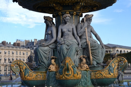 madeleine: Details of the Fountain in the Place de la Concorde in Paris, France Stock Photo