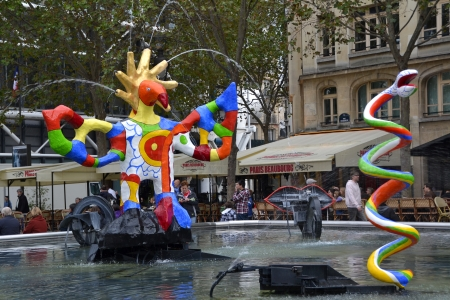 PARIS, FRANCE - OCTOBER 19  Stravinsky Fountain in Paris, France on October 19, 2013  It is a fountain with sixteen sculptures that represent the works of composer Igor Stravinsky