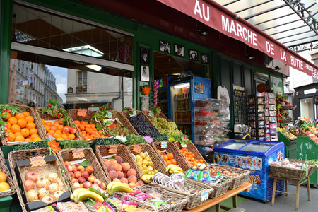 PARIS, FRANCE - OCTOBER 19: Au Marche de la Butte in Paris, France on October 19, 2013. It is a famous little shop of fruits and vegetables that appeared in the film Amelie and it is located in Montmarte, Paris. Editorial