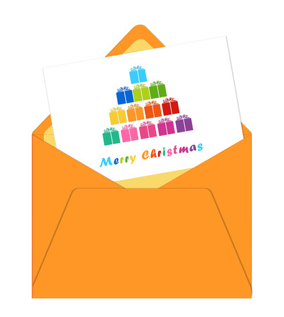 Merry Christmas card with envelope showing a tree with colorful gifts photo