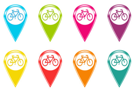 Set of icons or colored markers with bicycle symbol photo