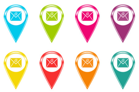 Set of icons or colored markers with email symbol photo