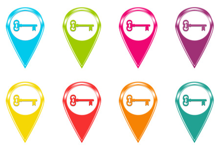 turism: Set of icons or colored markers with key symbol