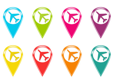 Set of icons or colored markers with airplane symbol photo