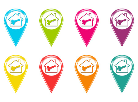 Set of house icons or colored markers on maps photo