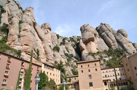 View of Monastery of Montserrat and mountains