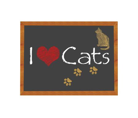 sociable: Blackboard symbolizing I love Cats Stock Photo