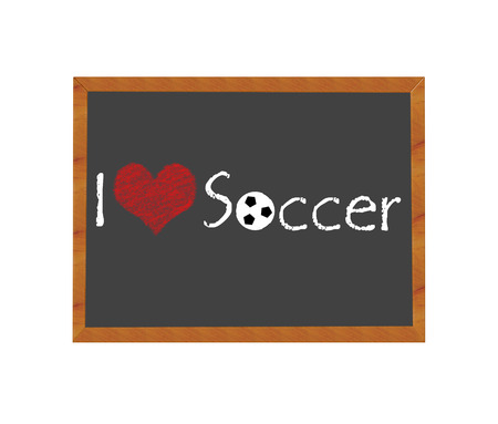 Blackboard symbolizing I love Soccer photo