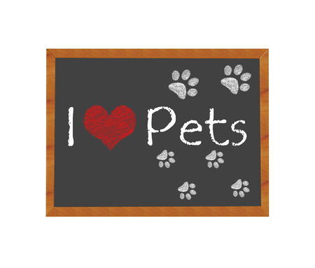 sociable: Blackboard symbolizing I love Pets