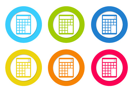 Colorful rounded icons with a calculator symbol in blue, green, yellow, orange and red colors photo