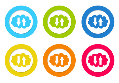 Colorful rounded icons with a cloud symbol in blue, green, yellow, orange and red colors photo