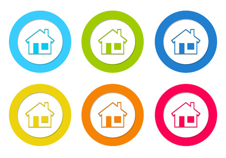 Set of rounded icons with house symbol in blue, green, red, orange and yellow colors photo
