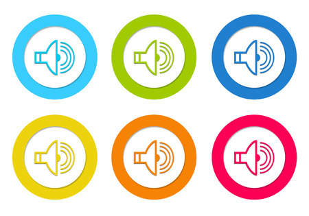 Colorful rounded icons with a speaker symbol in blue, green, yellow, orange and red colors