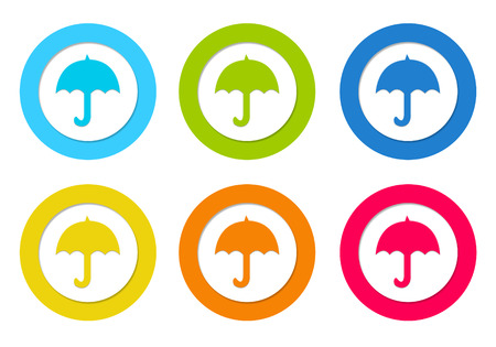 Colorful rounded icons with umbrella symbol in blue, green, yellow, orange and red colors photo