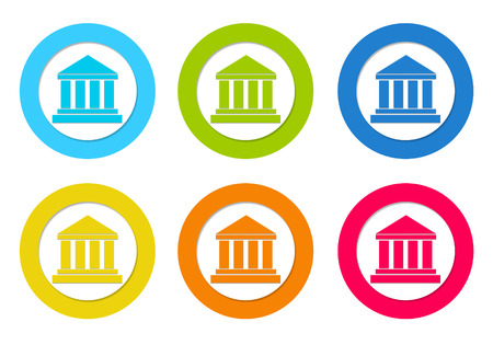 postgraduate: Colorful rounded icons with legal symbol in blue, green, yellow, orange and red colors
