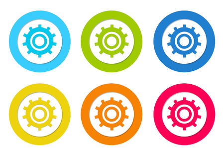 Set of rounded icons with gears symbol in blue, green, yellow, orange and red colors photo