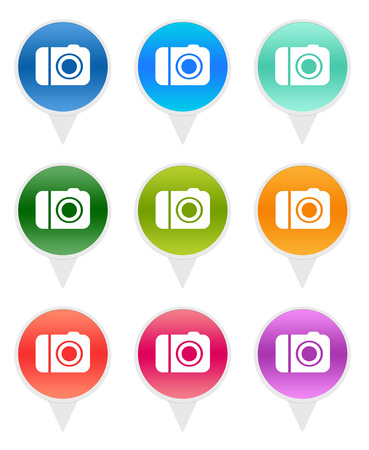 Colorful rounded icons for markers on maps with camera symbol photo