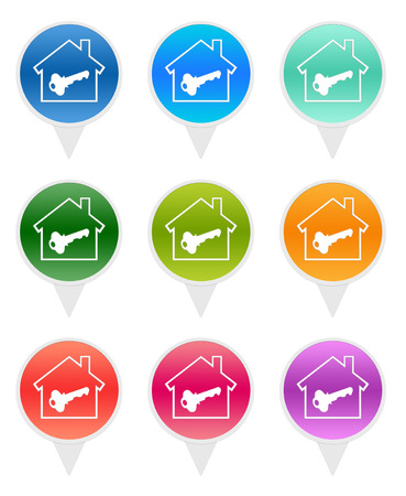 Colorful rounded icons for markers on maps with house symbol photo