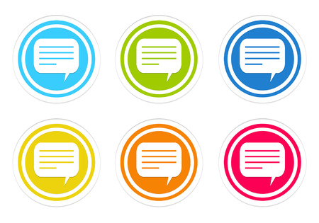 advising: Set of rounded colorful icons with conversation symbol in blue, green, yellow, red and orange colors Stock Photo