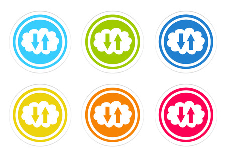 Set of rounded colorful icons with cloud symbol in blue, green, yellow, red and orange colors photo