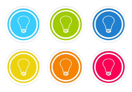 purchasing power: Set of rounded colorful icons with bulb symbol in blue, green, yellow, red and orange colors