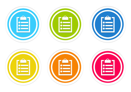 yellow notepad: Set of rounded colorful icons with notepad symbol in blue, green, yellow, red and orange colors