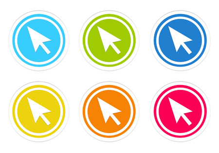 Set of rounded colorful icons with arrow symbol in blue, green, yellow, red and orange colors photo