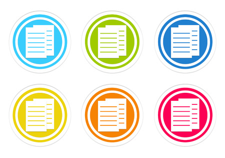 dossier: Set of rounded colorful icons with documents or news symbol in blue, green, yellow, red and orange colors