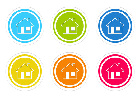 advising: Set of rounded colorful icons with house symbol in blue, green, yellow, red and orange colors Stock Photo