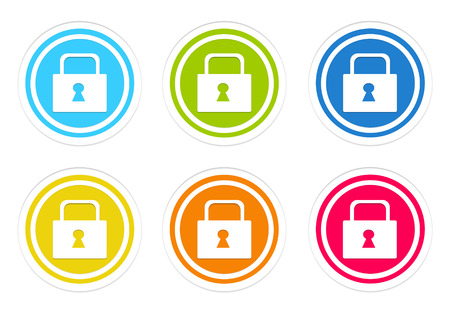 Set of rounded colorful icons with lock symbol in blue, green, yellow, red and orange colors Stock Photo