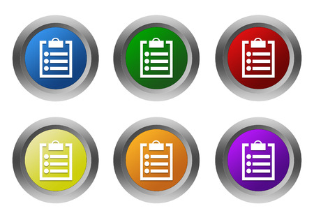 yellow notepad: Set of rounded colorful buttons with notepad symbol in blue, green, yellow, red, purple and orange colors