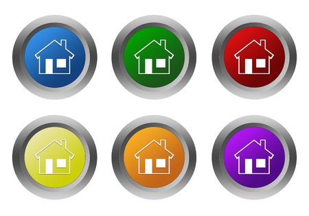 Set of rounded colorful buttons with house symbol in blue, green, yellow, red, purple and orange colors photo