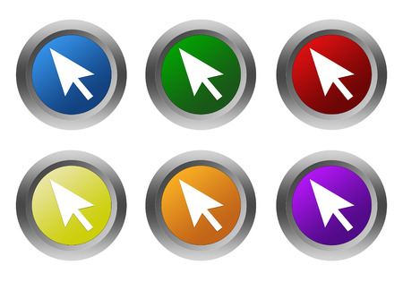 Set of rounded colorful buttons with arrow symbol in blue, green, yellow, red, purple and orange colors photo