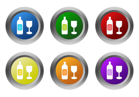 shopping champagne: Set of rounded colorful buttons with drink symbol in blue, green, yellow, red, purple and orange colors Stock Photo