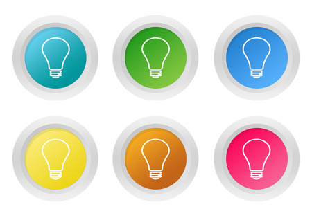 purchasing power: Set of rounded colorful buttons with bulb symbol in blue, green, yellow, pink and orange colors Stock Photo