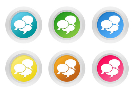 advising: Set of rounded colorful buttons with bubble speeches symbol in blue, green, yellow, pink and orange colors Stock Photo