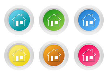 advising: Set of rounded colorful buttons with house symbol in blue, green, yellow, pink and orange colors Stock Photo